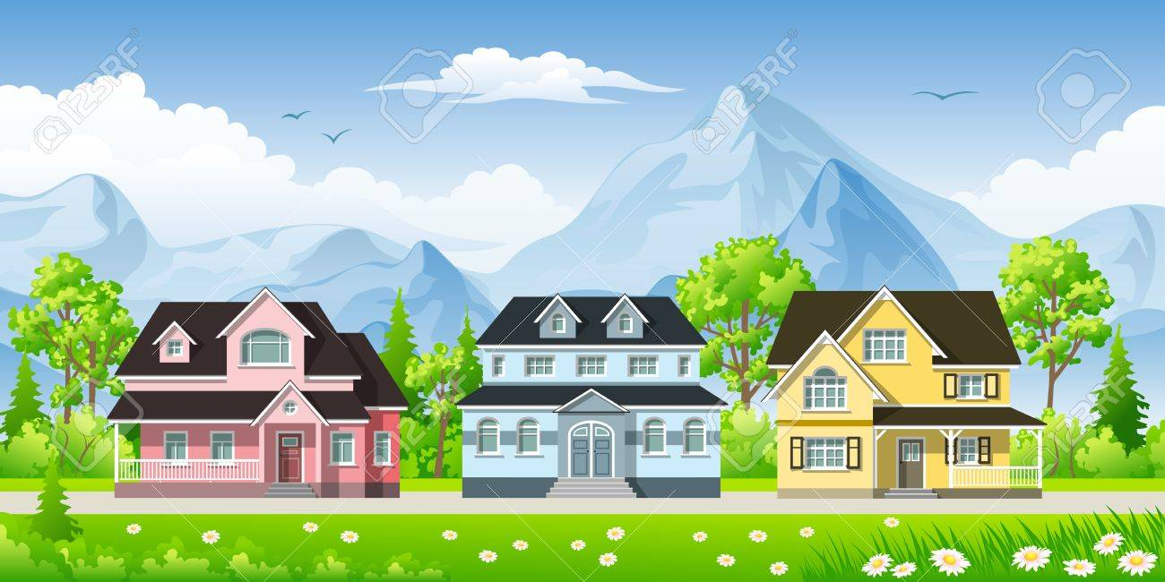 Landscape With Three Classic Houses Royalty Free Cliparts Vectors