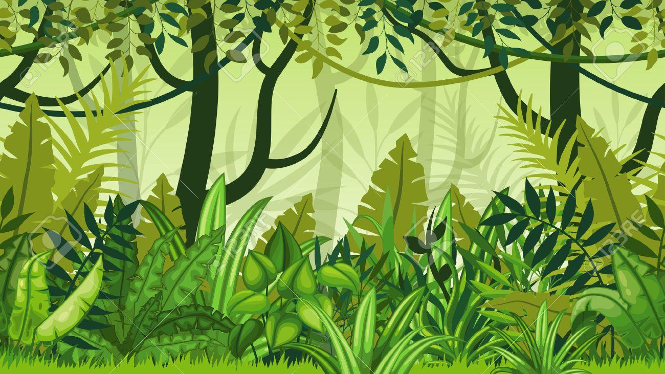Seamless nature jungle cartoon landscape - 55097052