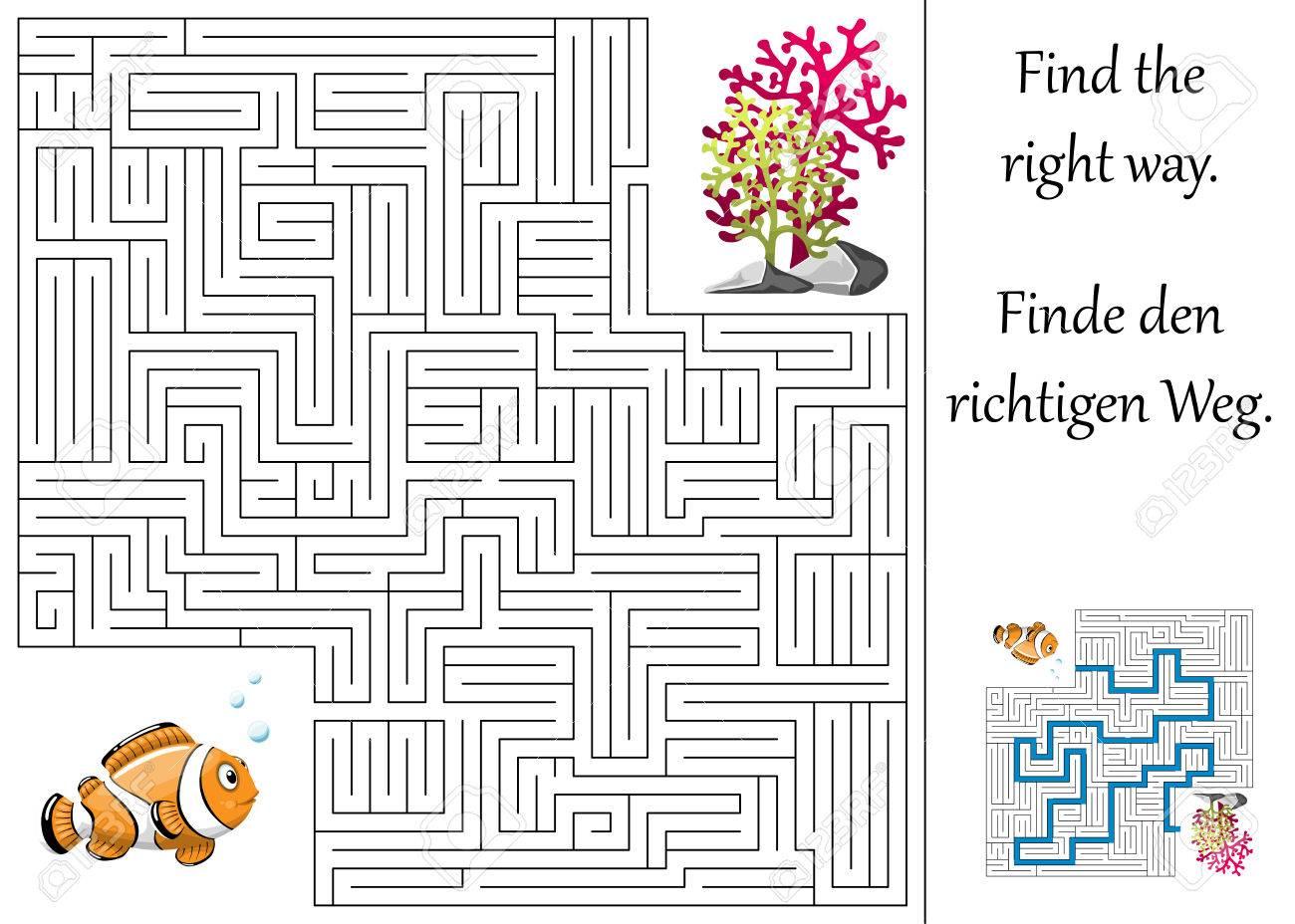 Bildung Labyrinth Oder Labyrinth Für Kinder Mit Clown Fische Und ...