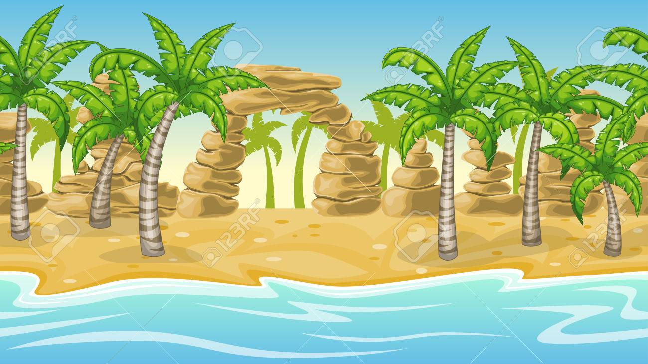 Seamless Natural Beach Landscape With Palm Trees Stock Vector
