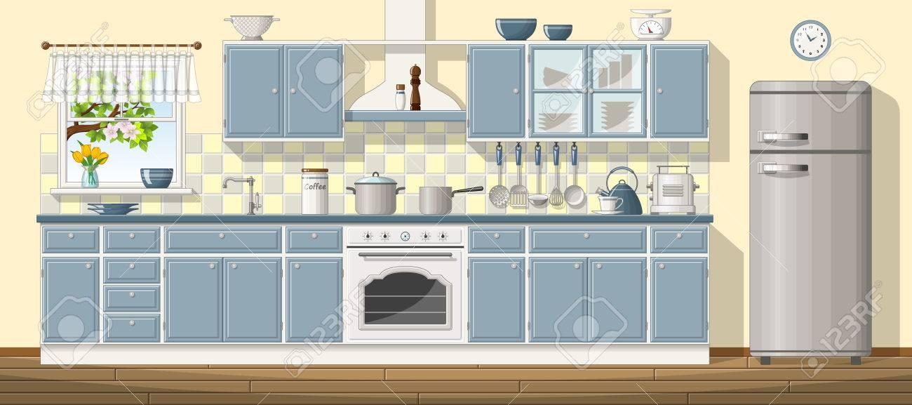 Ilustracion De Una Cocina Clasica Ilustraciones Vectoriales Clip - Cocina-clsica