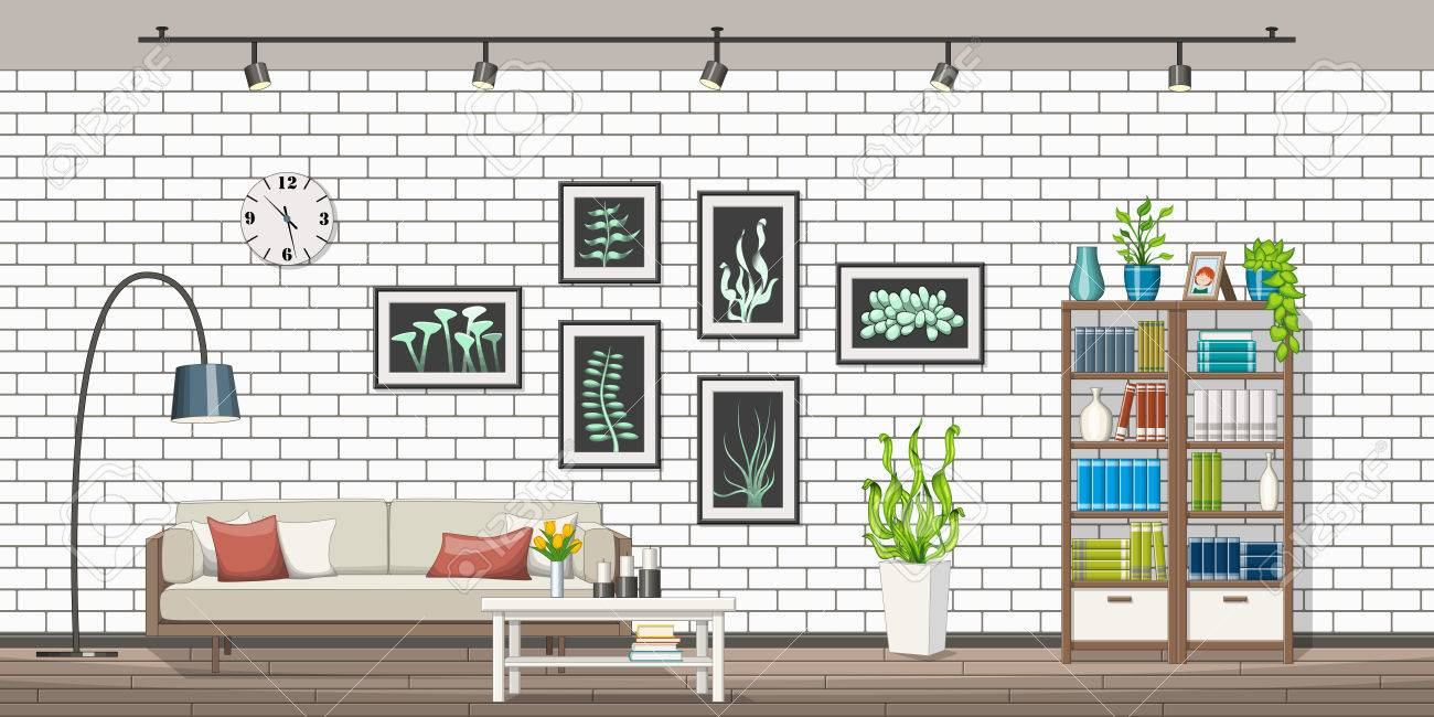 Illustration of interior equipment of a modern living room, panorama - 64875873