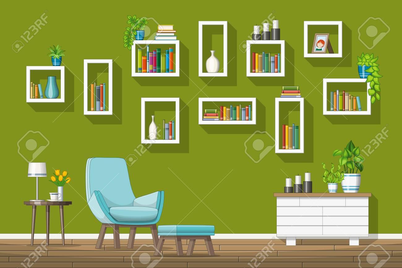 Illustration of interior equipment of a modern living room - 68282062