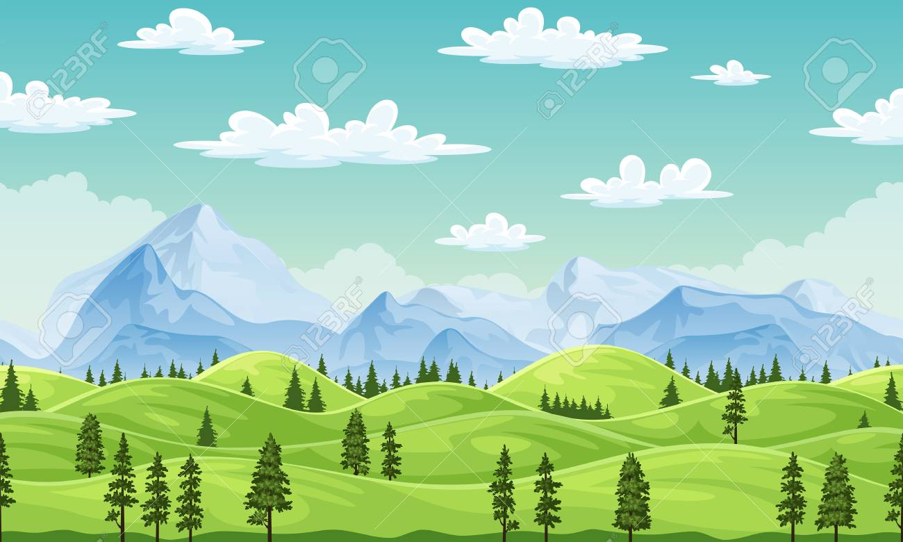 Summer landscape with trees and moutains, illustration - 114879782