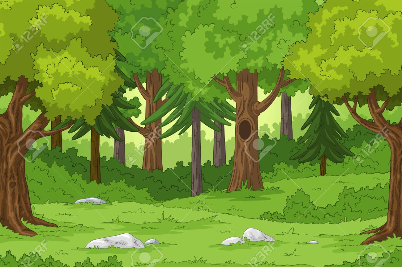 Forest landscape with stones, hand draw illustration - 126608824