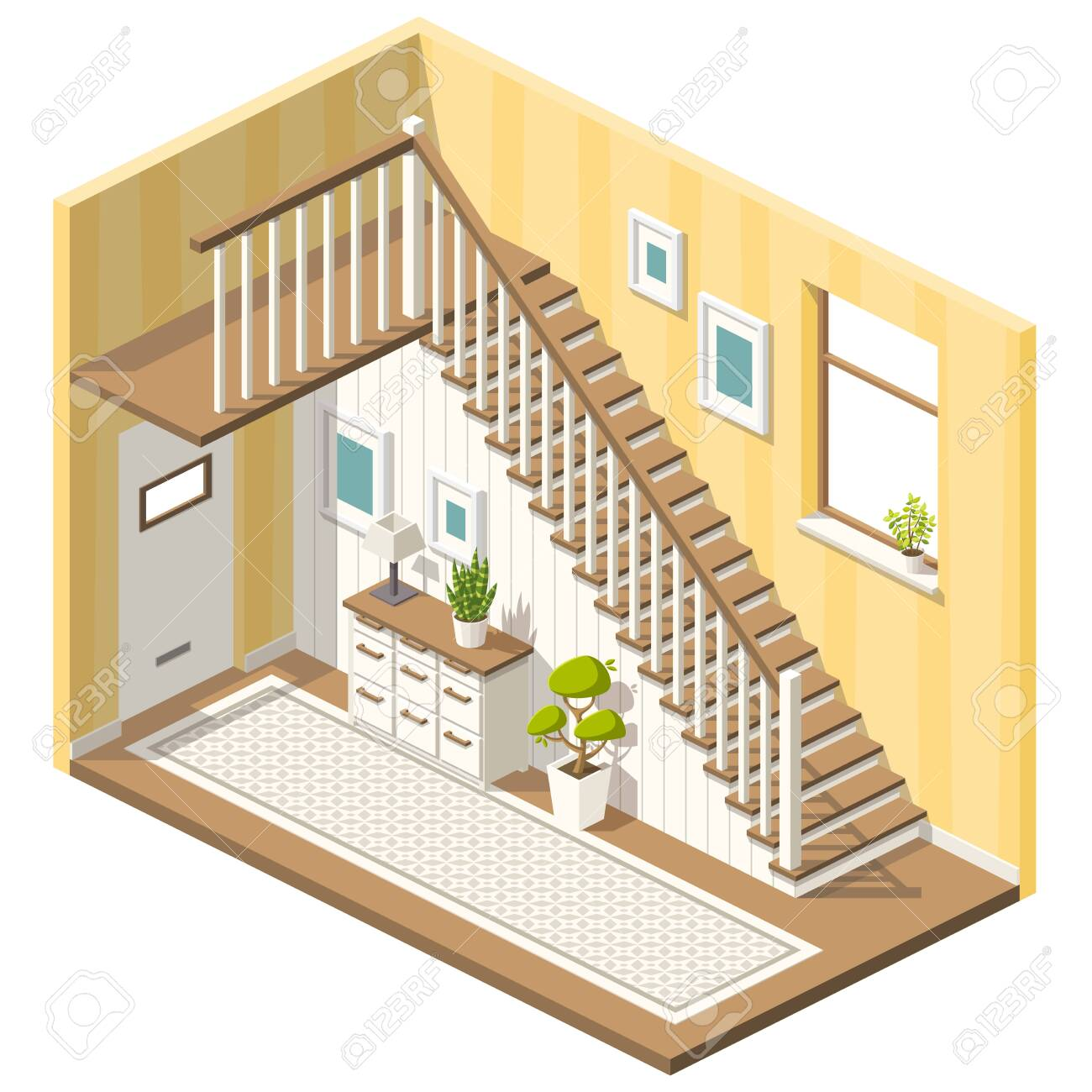 Isometric hall with stairs and furniture. Vector illustration with separate layers. - 146104988