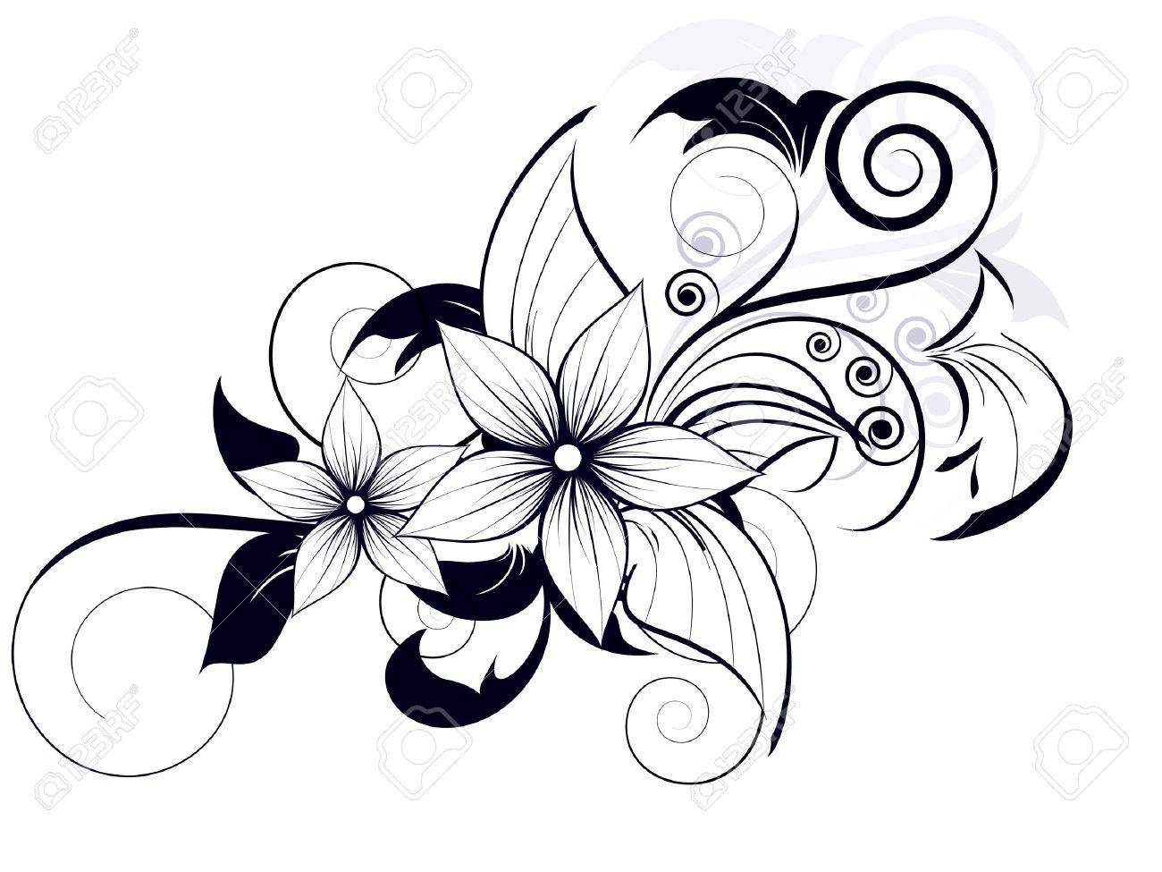floral design element with swirls for spring Stock Vector - 23151981