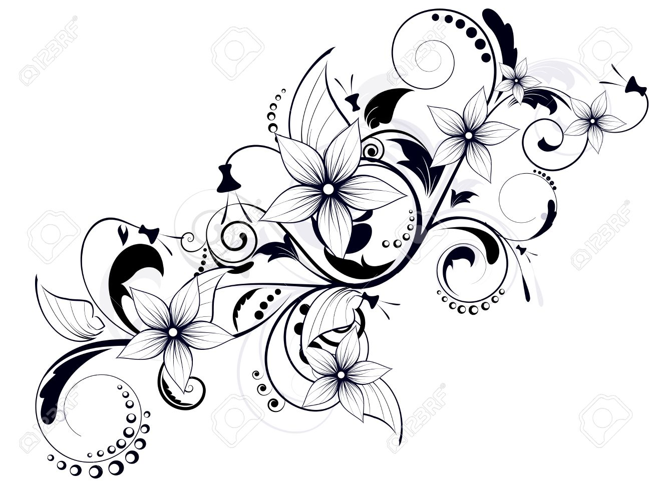 floral design element with swirls for spring royalty free cliparts