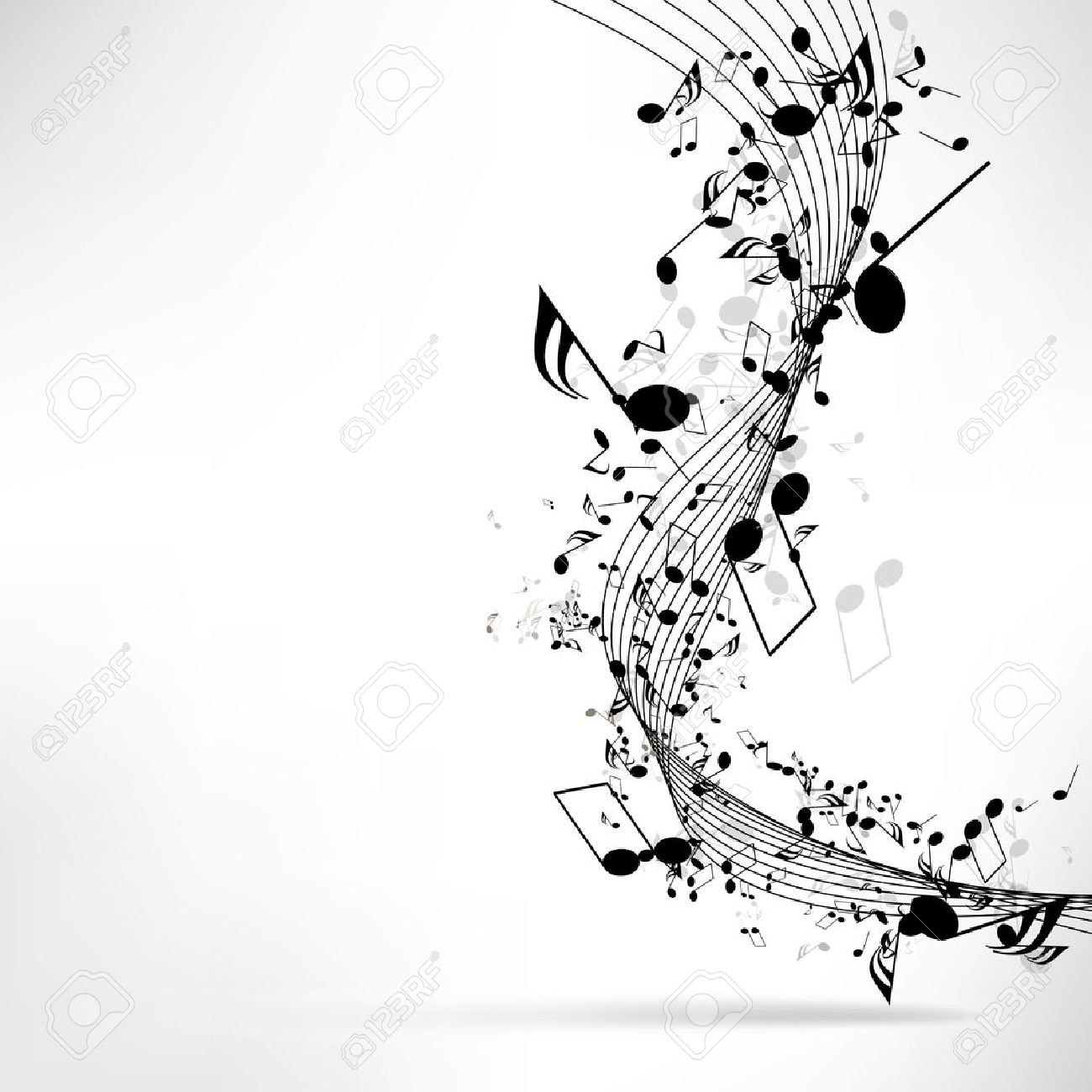 Musical notes staff background on white vector by tassel78 image - Music Symbols Abstract Musical Background With Notes