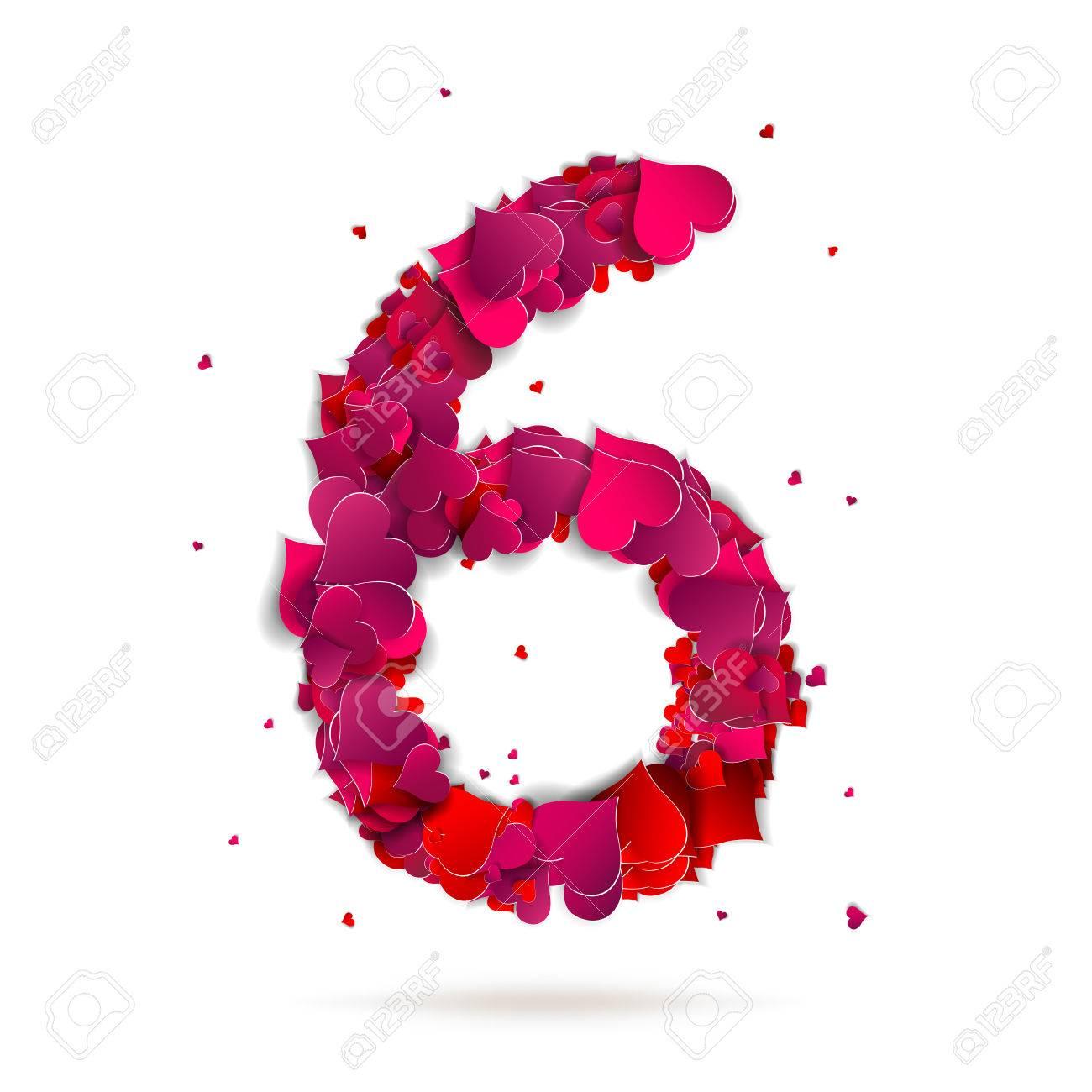 El Número Seis, 6 De Corazones Rojos Del Amor Alfabeto ...