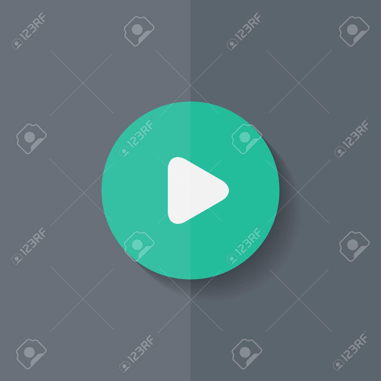 Media Play Icon Start Music Symbol Flat Design Royalty Free