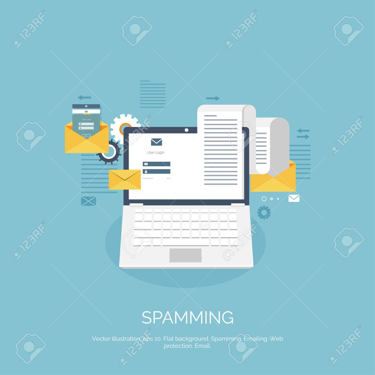 Vector Illustration. Flat Spamming Background. Spam. Email. Global ...