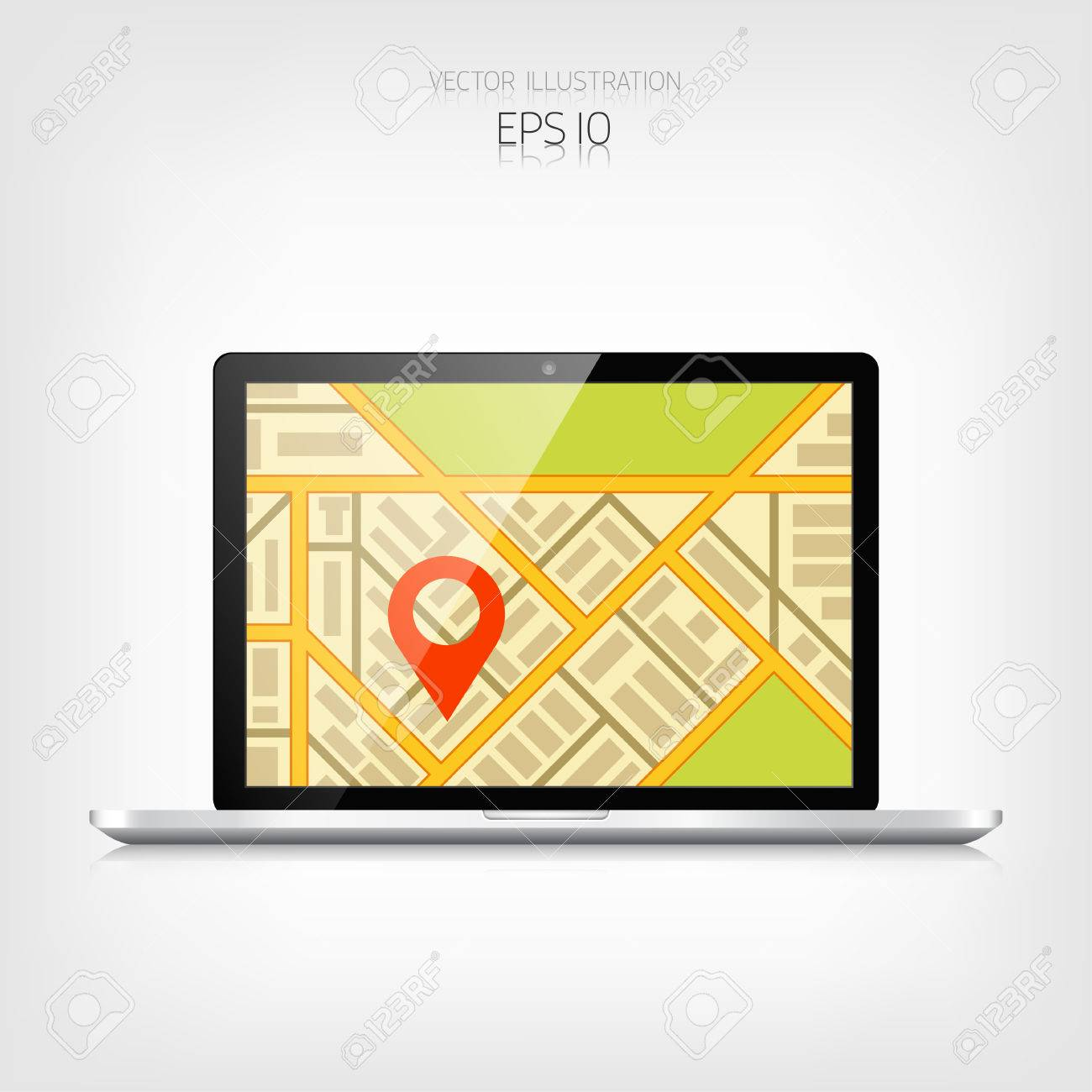 Navigation background with laptop and map Responsive web design