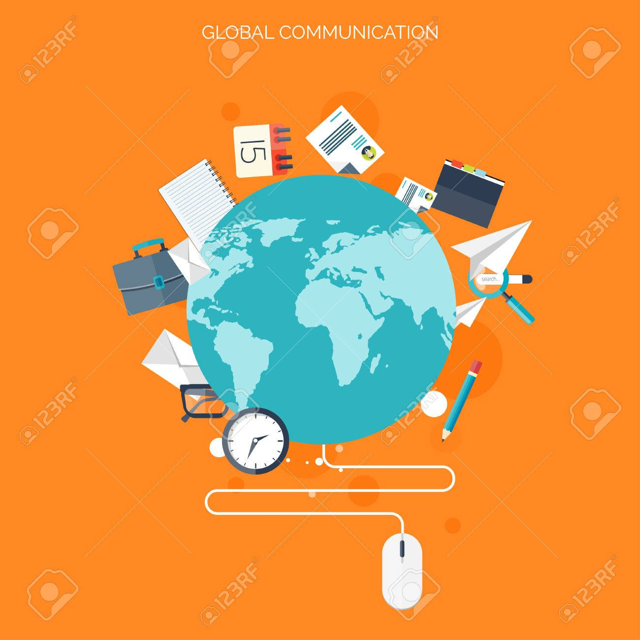 Flat social media and network concept  Business background, global