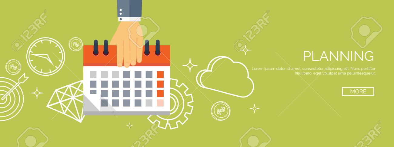 Vector illustration. Flat date and time background. Planning. Time management. - 47431455