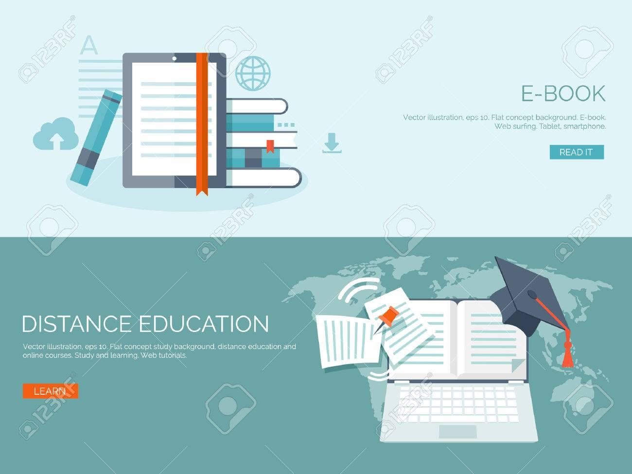 Vector Illustration. Flat Backgrounds Set. Distance Education ...
