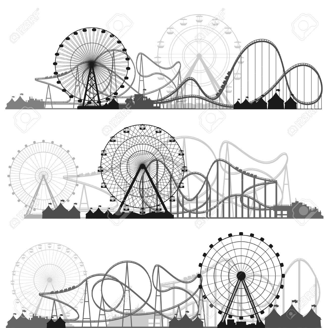 Ilustración Del Vector. Rueda De La Fortuna. Carnaval. Fondo Parque ...