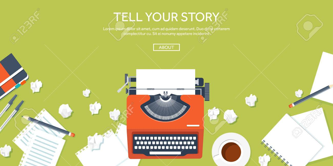 Vector illustration. Flat typewrite. Tell your story. Author. Blogging. - 47610104