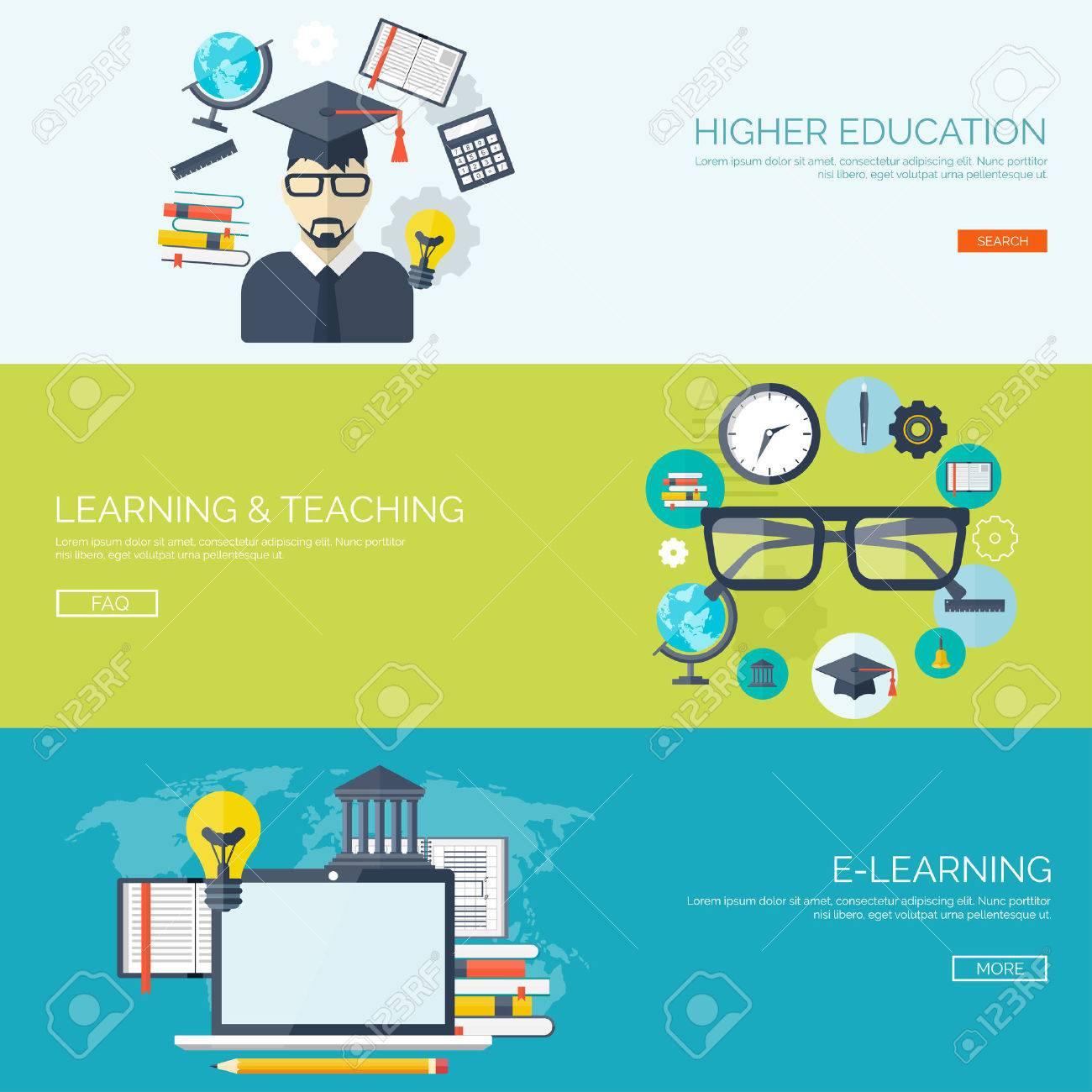 Vector illustration  Flat backgrounds set  Distance education