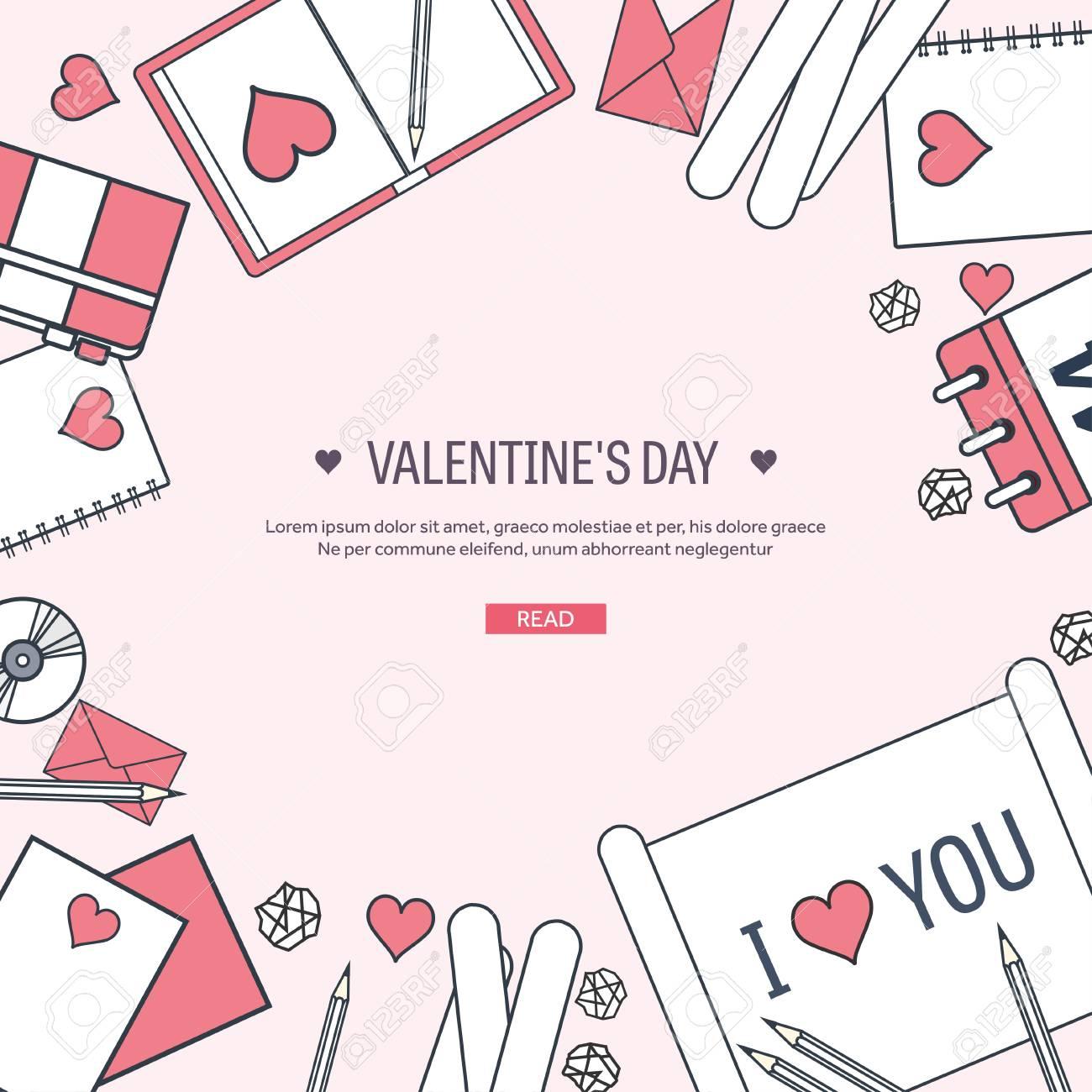 Vector illustration  Flat background with paper, envelope  Love,