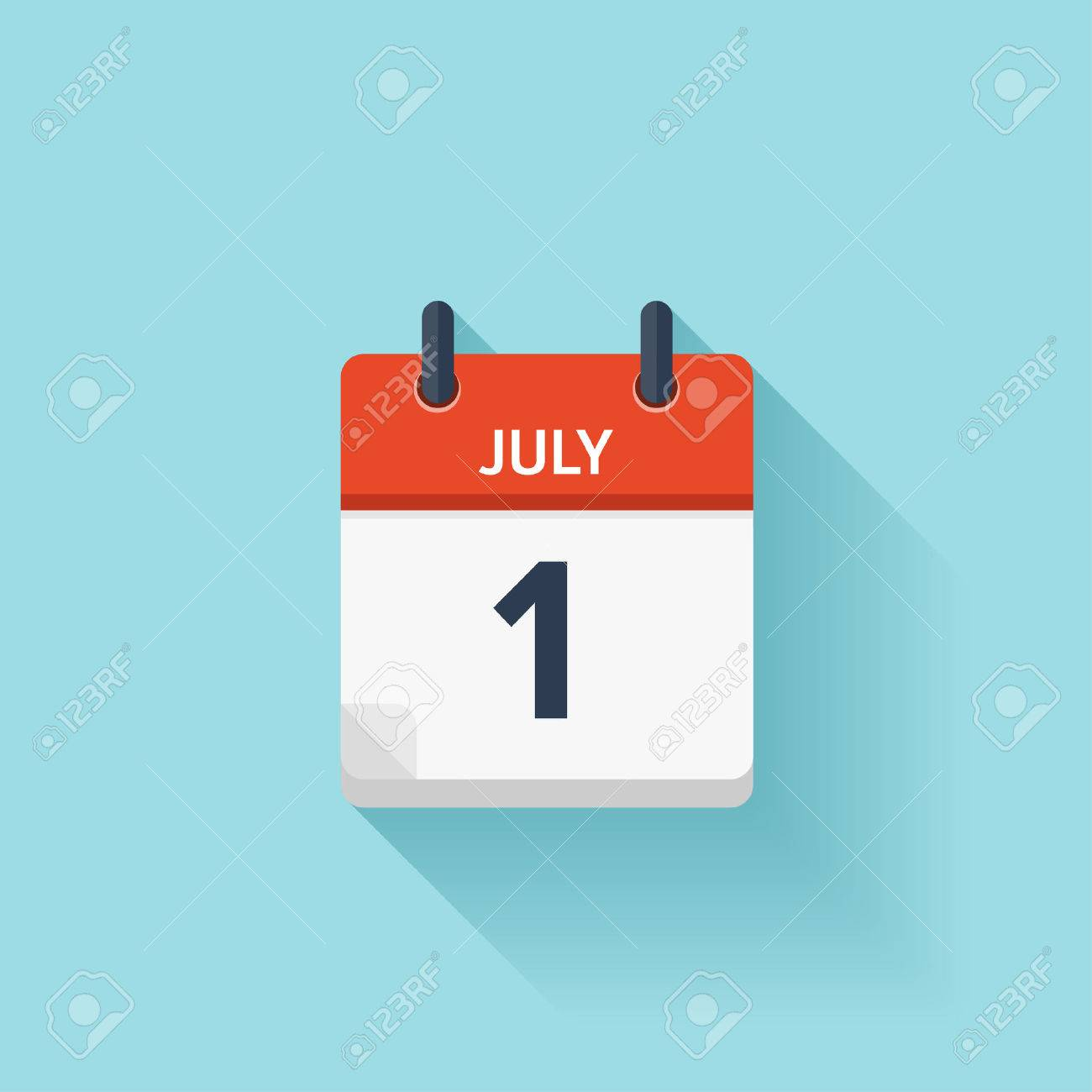 July 1. Vector flat daily calendar icon. Date and time, day, month. Holiday. - 54047616