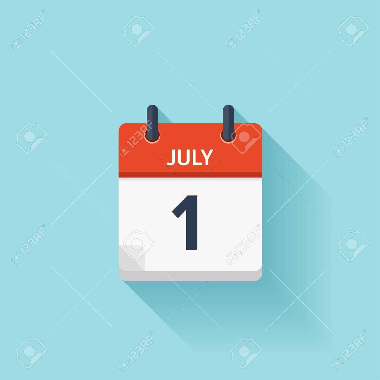 Calendario Diario.El 1 De Julio Del Vector Plana Icono De Calendario Diario Fecha Y Hora Dia Mes Fiesta