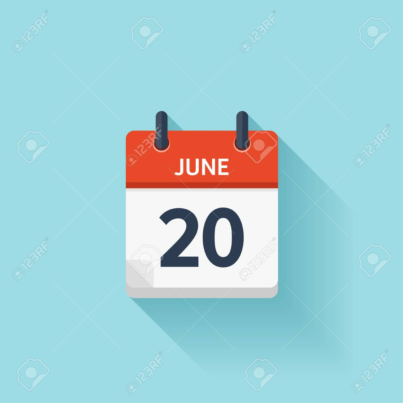 June 20 . Vector flat daily calendar icon. Date and time, day, month. Holiday. - 54047988