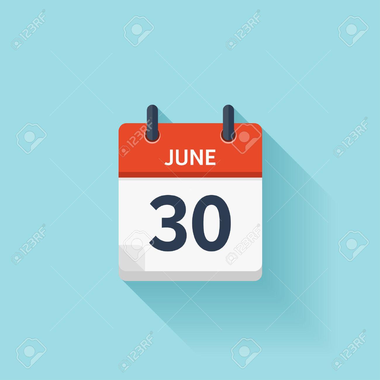 Calendario Vectores.30 De Junio Vector Plana Icono De Calendario Diario Fecha Y Hora Dia Mes Fiesta