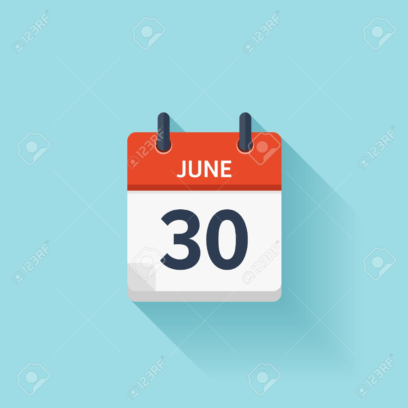 June 30 . Vector flat daily calendar icon. Date and time, day, month. Holiday. - 54048108