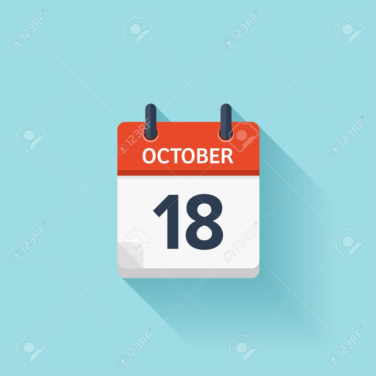 October 18 . Vector flat daily calendar icon. Date and time, day, month. Holiday. - 54048368