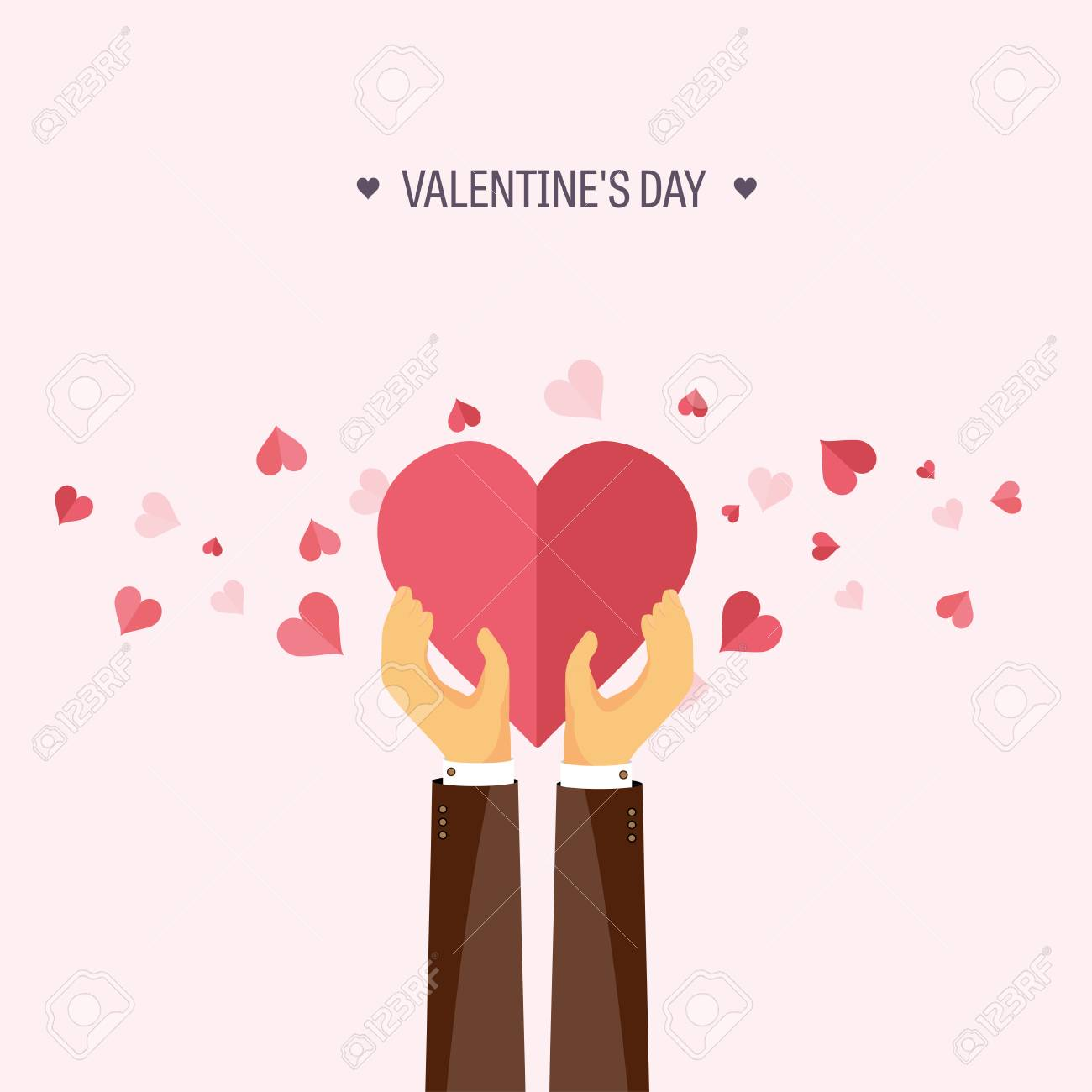 Vector illustration  Flat background with hand and heart  Love,