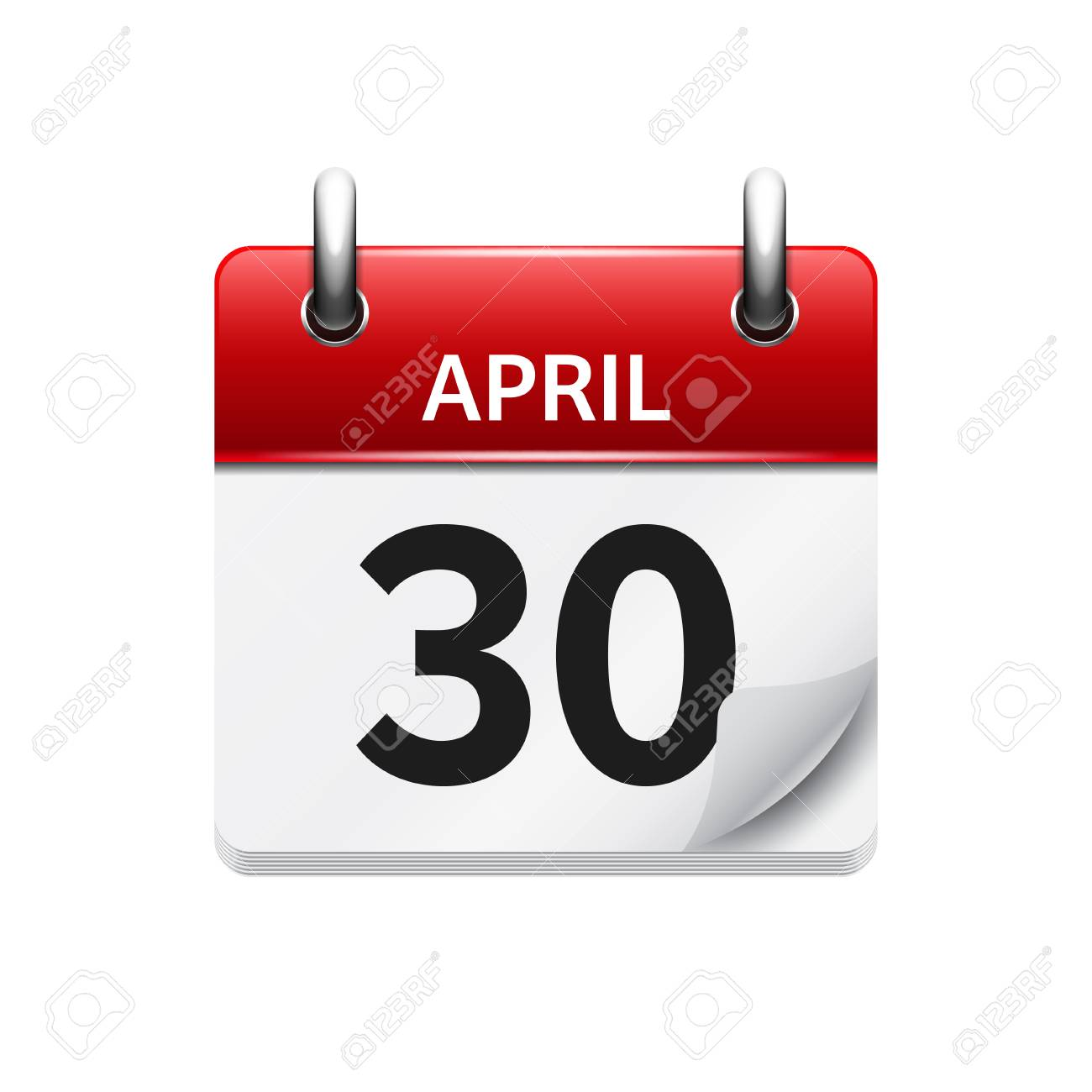 April 30 Vector Flat Daily Calendar Icon Date And Time Day