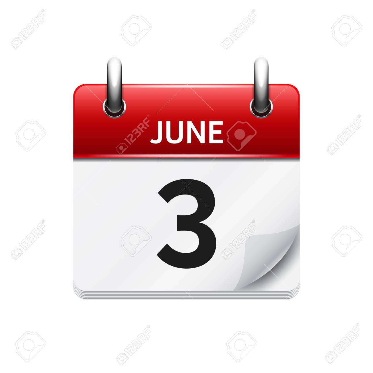Calendario Vectores.3 De Junio Vector Plana Icono De Calendario Diario Fecha Y Hora Dia Mes Fiesta