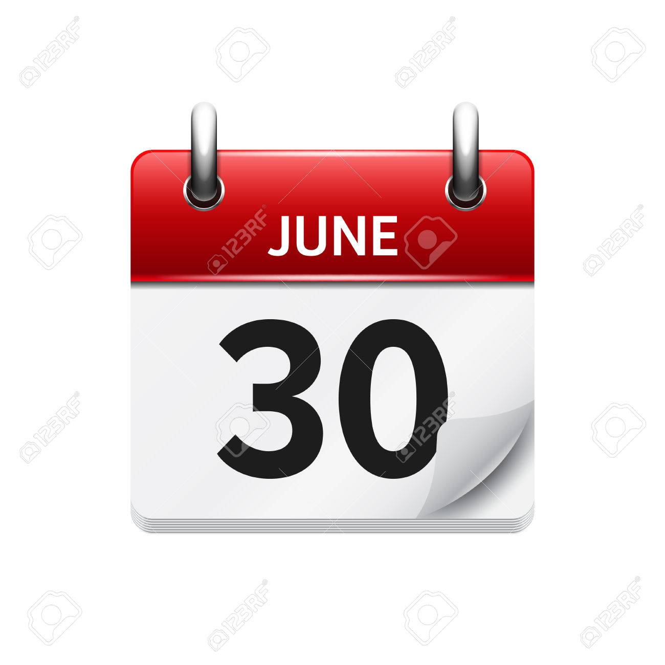 June 30 . Vector flat daily calendar icon. Date and time, day, month. Holiday. - 54055890