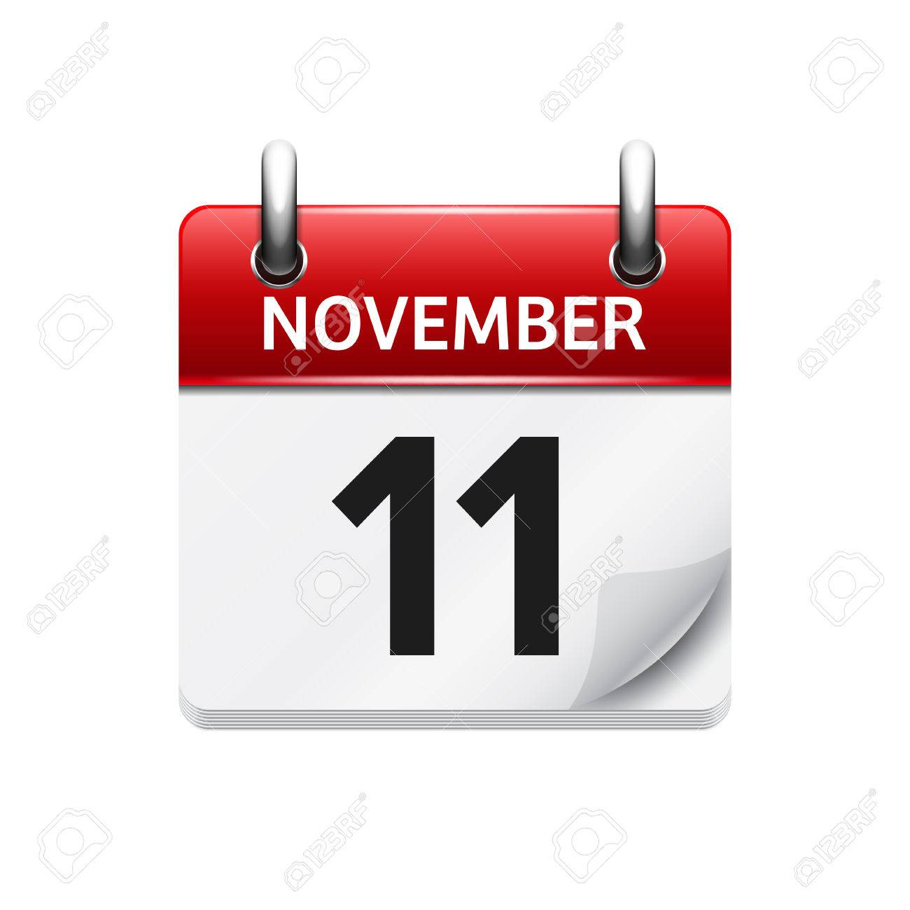 November 11. Vector flat daily calendar icon. Date and time, day, month. Holiday. - 54056858