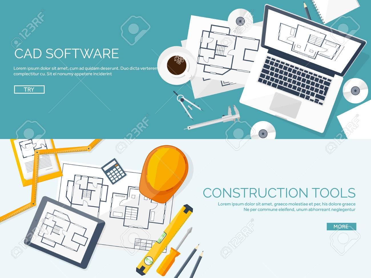 Illustration Vectorielle Ingénierie Et Architecture Ordinateur Portable,  Logiciel. Dessin, Construction. Projet Architectural