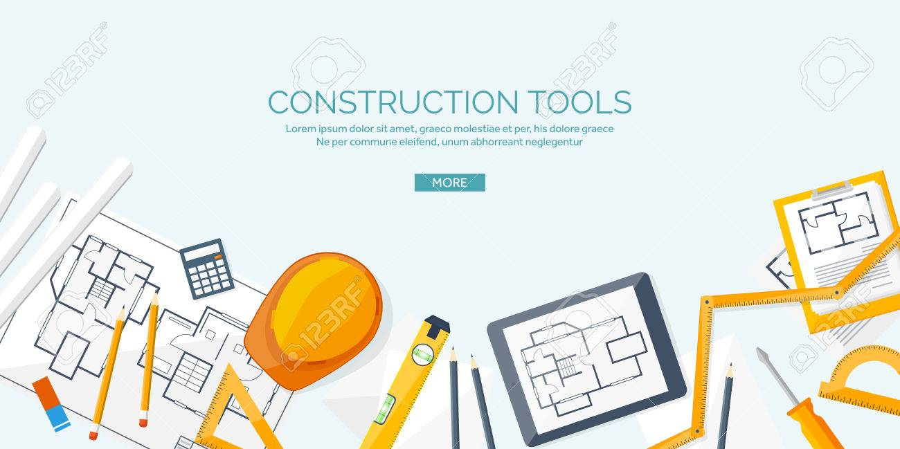 Vector illustration. Engineering and architecture. Drawing, construction. Architectural project. Design, sketching. Workspace with tools. Planning and building. - 54453686