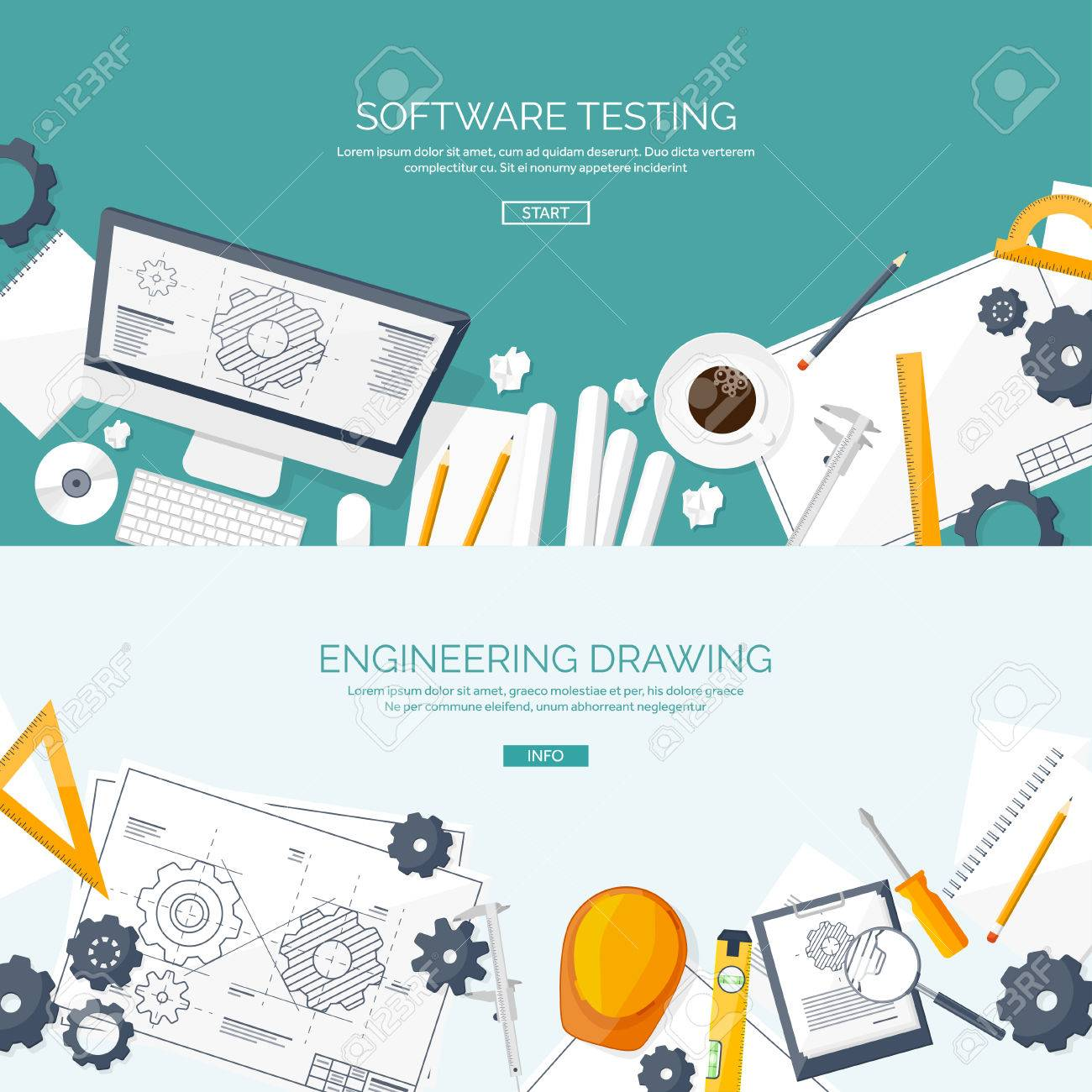 Vector Illustration. Engineering And Architecture. Computer ...