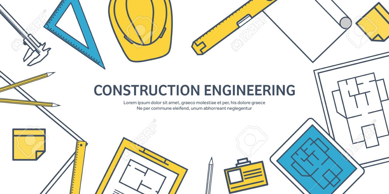Lined, outline  Vector illustration  Engineering and architecture