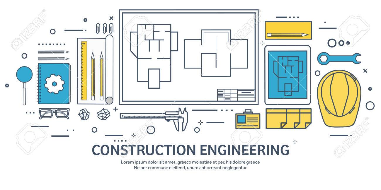 Lined, Outline. Vector Illustration. Engineering And Architecture ...