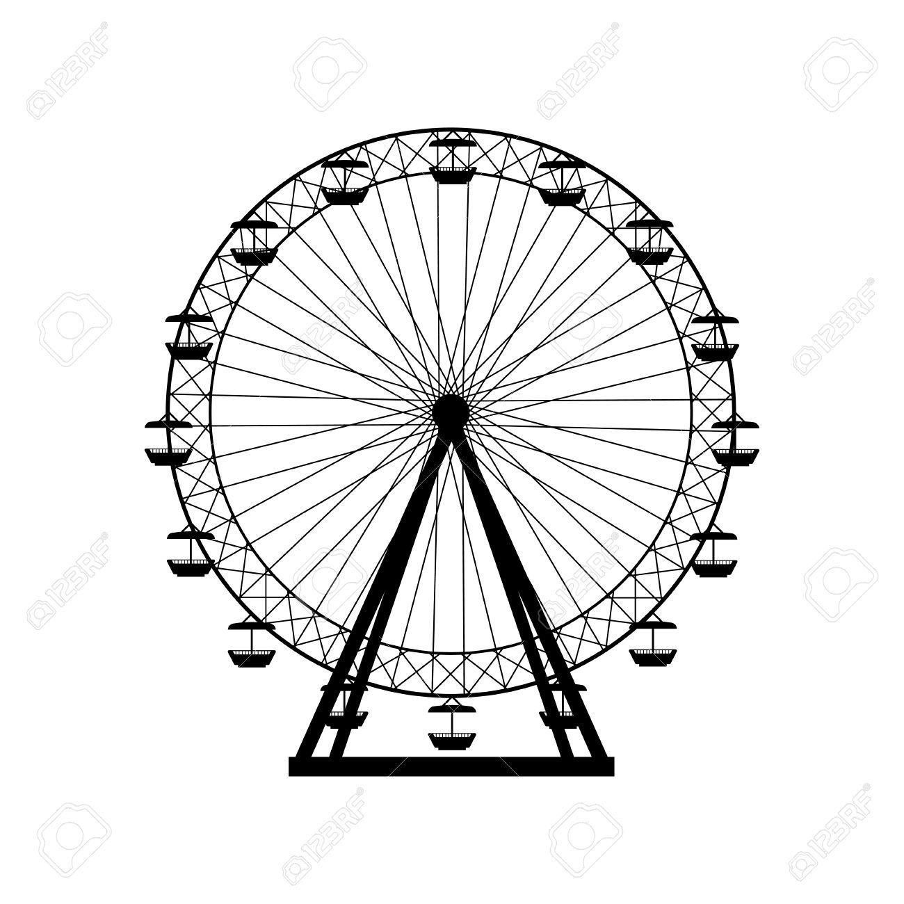 Ferris Wheel Silhouette Circle Carnival Funfair Background Carousel Royalty Free Cliparts Vectors And Stock Illustration Image 57893517