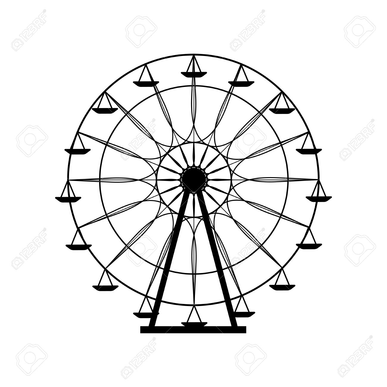 Ferris Wheel Silhouette Circle Carnival Funfair Background Carousel Royalty Free Cliparts Vectors And Stock Illustration Image 57893523