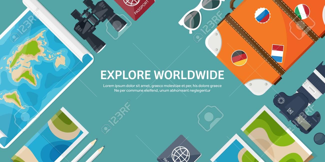 Voyage Et Tourisme Le Style Plat Mondiale Carte De La Terre Globe Vacances Visite Ete Voyager Explorer Dans Monde Entier