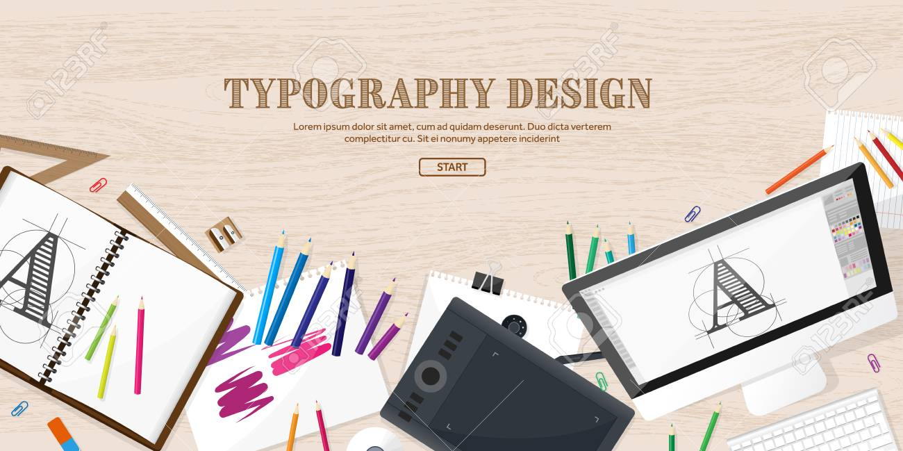 Graphic And Web Design Illustration Flat Style Designer Workplace Royalty Free Cliparts Vectors And Stock Illustration Image 63235696