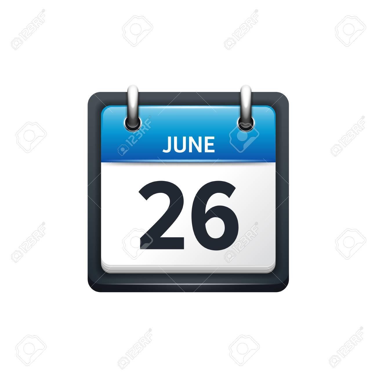 Calendario Mese Giugno.26 Giugno Icona Del Calendario Illustrazione Vettoriale Stile Piano Mese E Data Domenica Lunedi Martedi Mercoledi Giovedi Venerdi Sabato