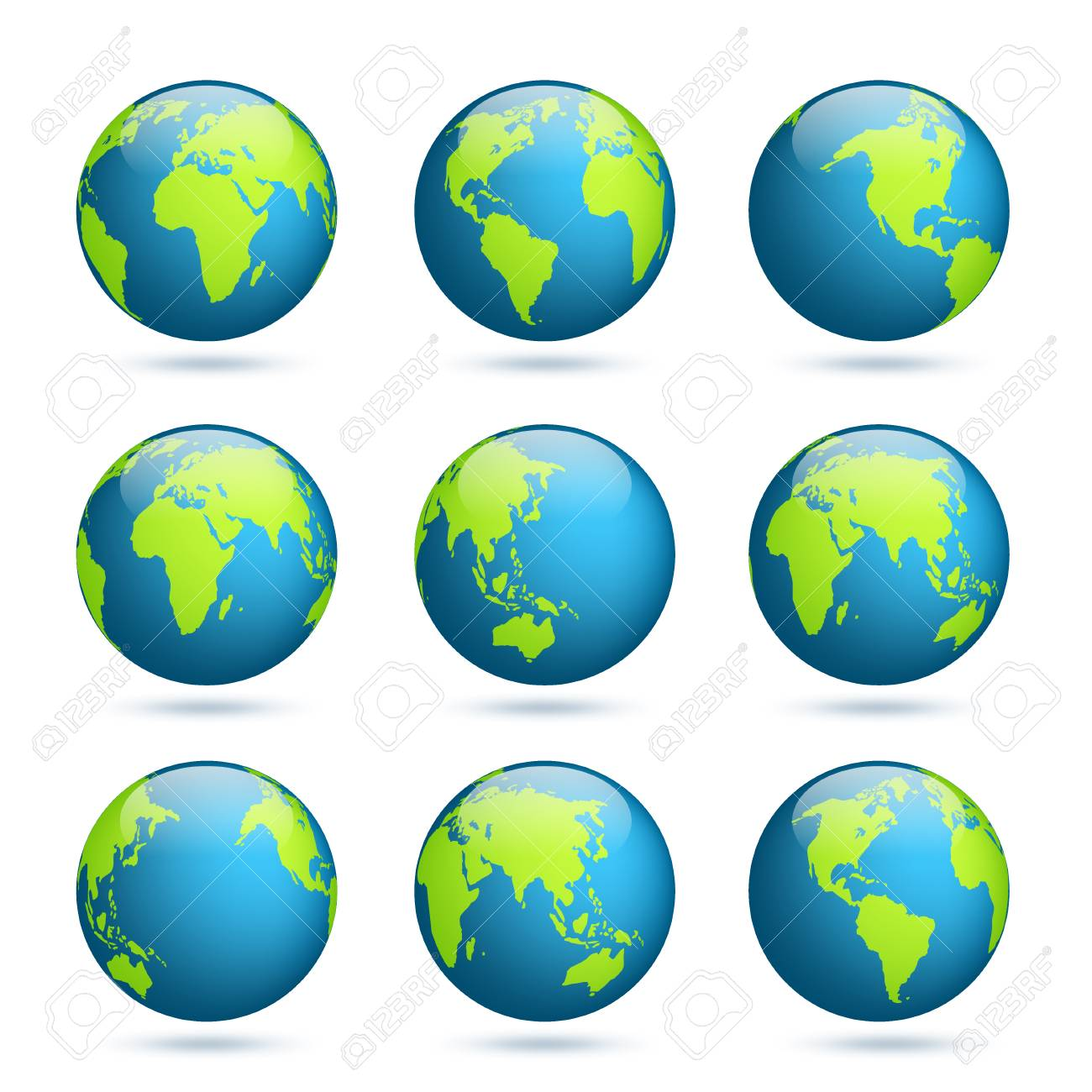 Earth Globe. World Map Set. Planet With Continents.Africa Asia ... on