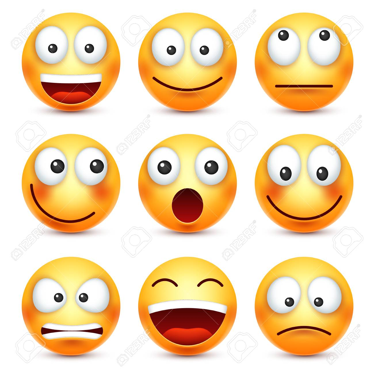 Smiley,emoticon set  Yellow face with emotions  Facial expression
