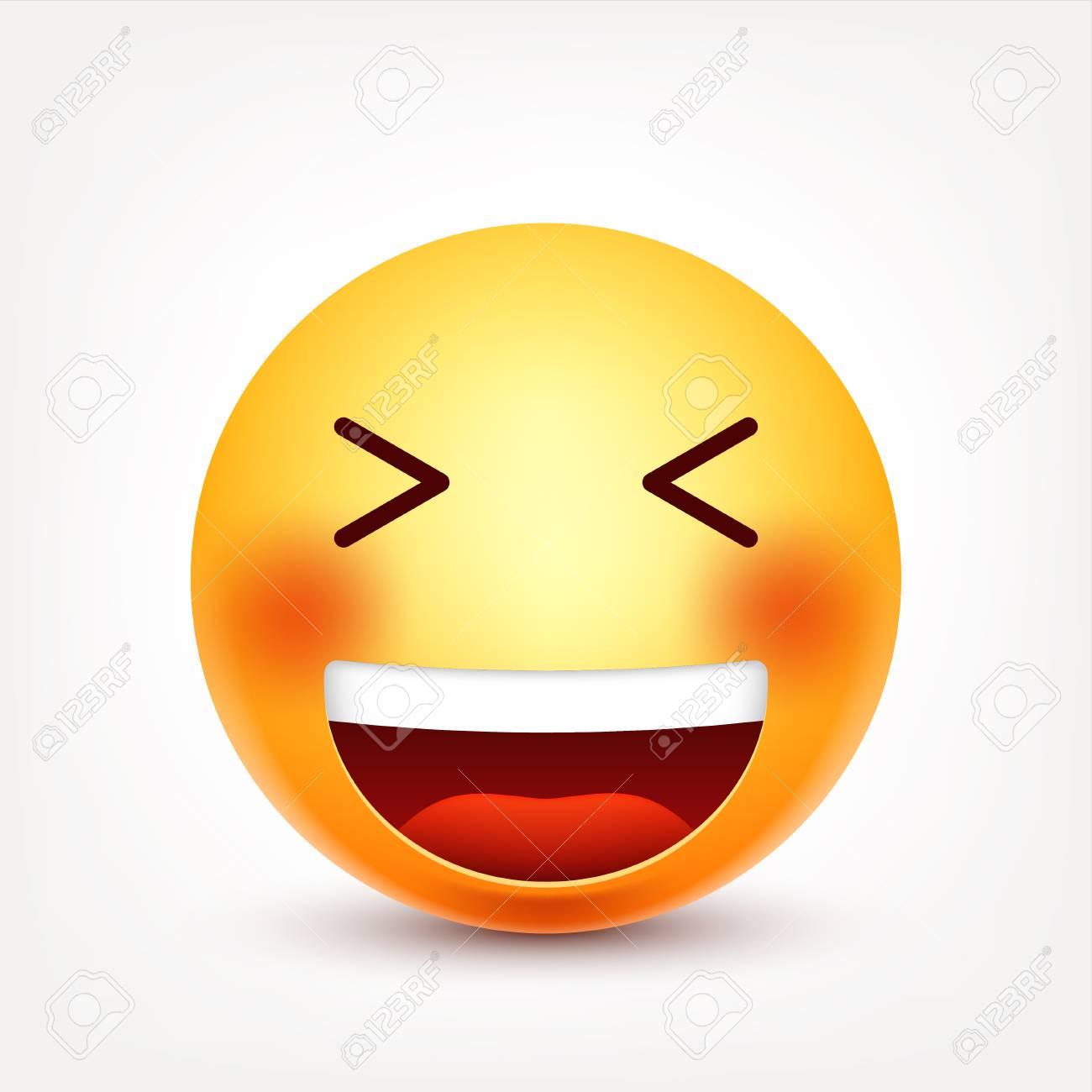 Smiley Emoticon De Risa Cara Amarilla Con Emociones Expresión