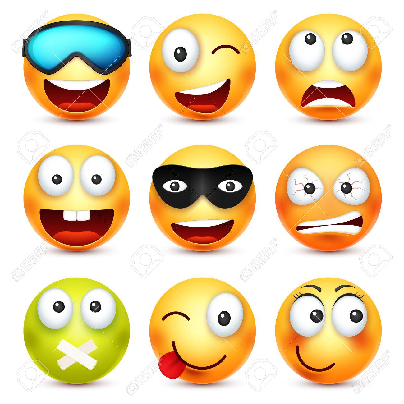 Smiley Avec Des Lunettes Souriant Enerve Triste Emoticone Heureuse Visage Jaune Avec Emotions L Expression Du Visage Emoji 3d Realiste Personnage Drole De Dessin Anime Bonne Qualite Icone Web Illustration Vectorielle Clip Art