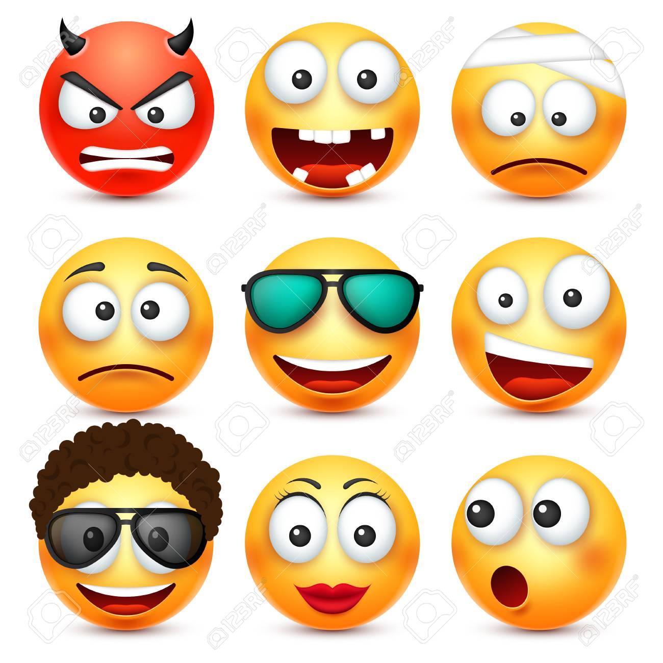 Smiley Avec Des Lunettes Sourire En Colere Triste Emoticone Heureuse Visage Jaune Avec Des Emotions Expression Faciale Emoji Realiste 3d Personnage Drole De Bande Dessinee Icone Web Illustration Vectorielle Clip Art Libres